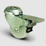 75mm Swivel Bolt Hole Nylon Castor (Braked) - Max. 55Kg