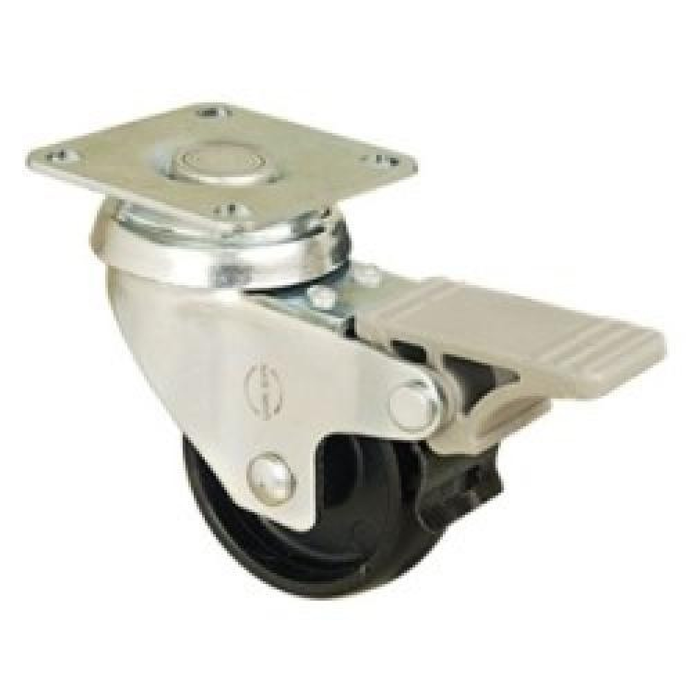 50mm Swivel Top Plate (Braked) PolypropyLene Castor - Max. 35Kg