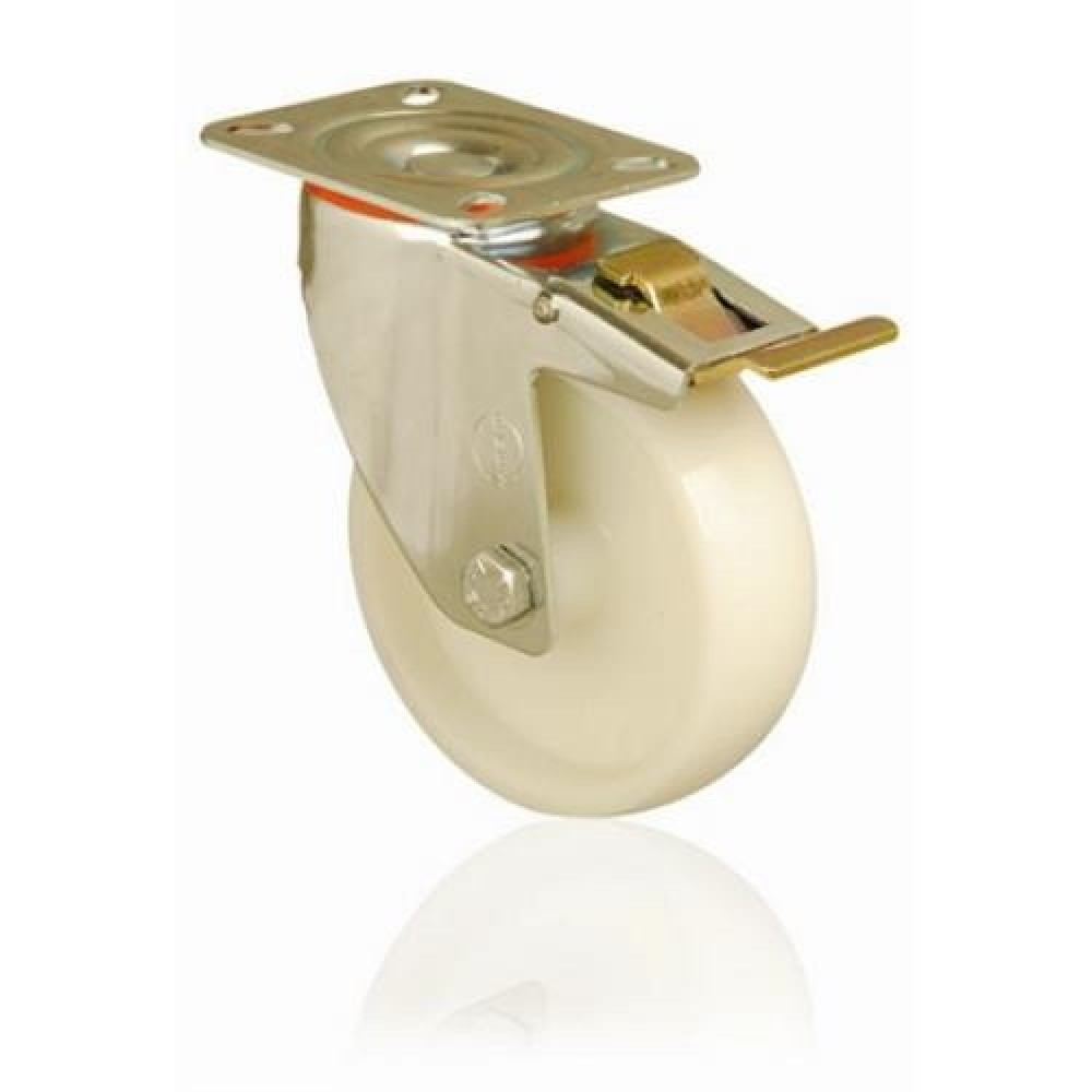 200mm Swivel (Braked) Top Plate Nylon Castor - Max. 230Kg