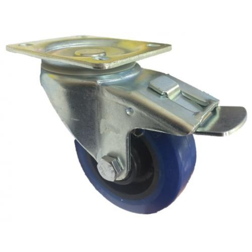 125mm Blue Elastic Swivel Castor, Top Plate with Roller Bearing Wheel (Braked) - Max. 160Kg