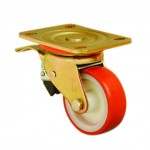 EXTRA HEAVY DUTY - 150mm Swivel Top Plate Polyurethane Tread Castor (Braked) - Max. 550Kg
