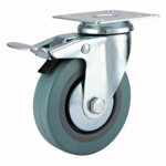 75mm Castor - Grey Non-Marking Rubber - Swivel Top Plate (Braked) - Max 65Kg