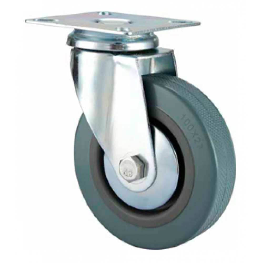 50mm Castor - Grey Non-Marking Rubber - Swivel Top Plate - Max 30Kg