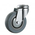 75mm Castor - Grey Non-Marking Rubber - Single Bolt Hole - Max 65Kg