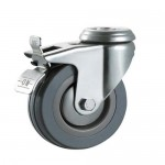 50mm Castors - Grey Non-Marking Hard Rubber (Braked) - 10mm Top Fixing Hole - Max 30Kg