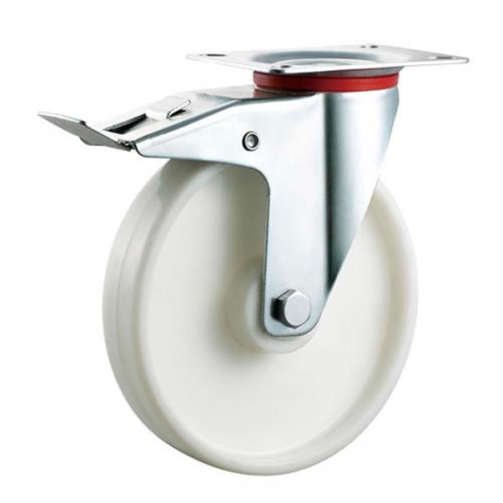 100mm Swivel (Braked) Top Plate Nylon Castor - Max. 140Kg
