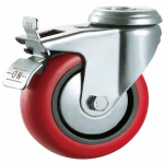 75mm Polyurethane Casters (Braked) - Swivel - Bolt Hole - Max. 75Kg