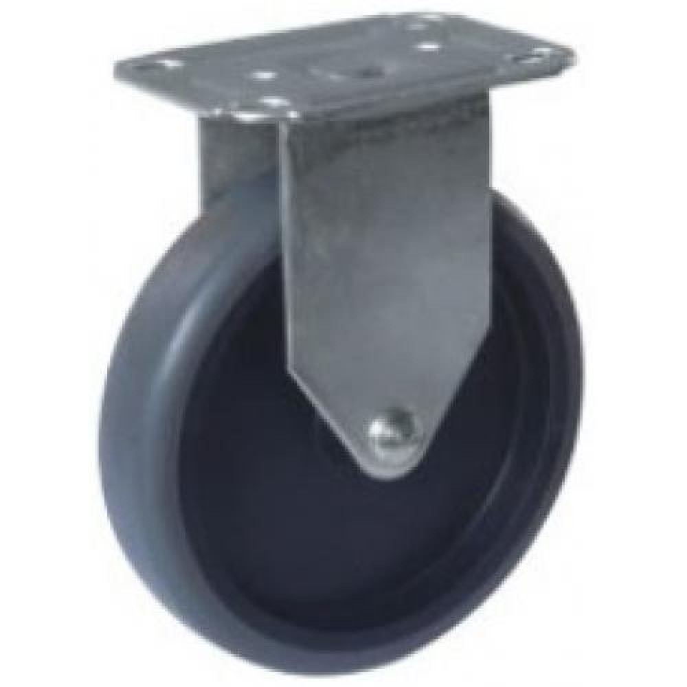REDUCED TO CLEAR!!! - 125mm Fixed Top Plate Grey TPR Rubber Castor - Max. 65Kg