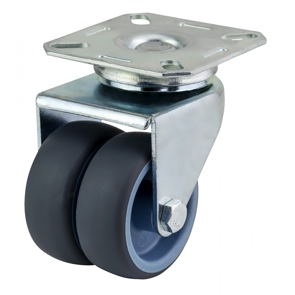 50mm Twin Wheel Castor - NON MARKING - Top Plate Fixing - Max. 70Kg