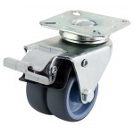 50mm Twin Wheel Castor (Braked) - NON MARKING - Top Plate Fixing - Max. 70Kg