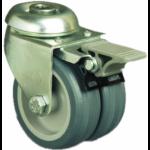 50mm Twin Wheel Castor (Braked) - NON MARKING - Swivel Bolt Hole - Max. 55Kg