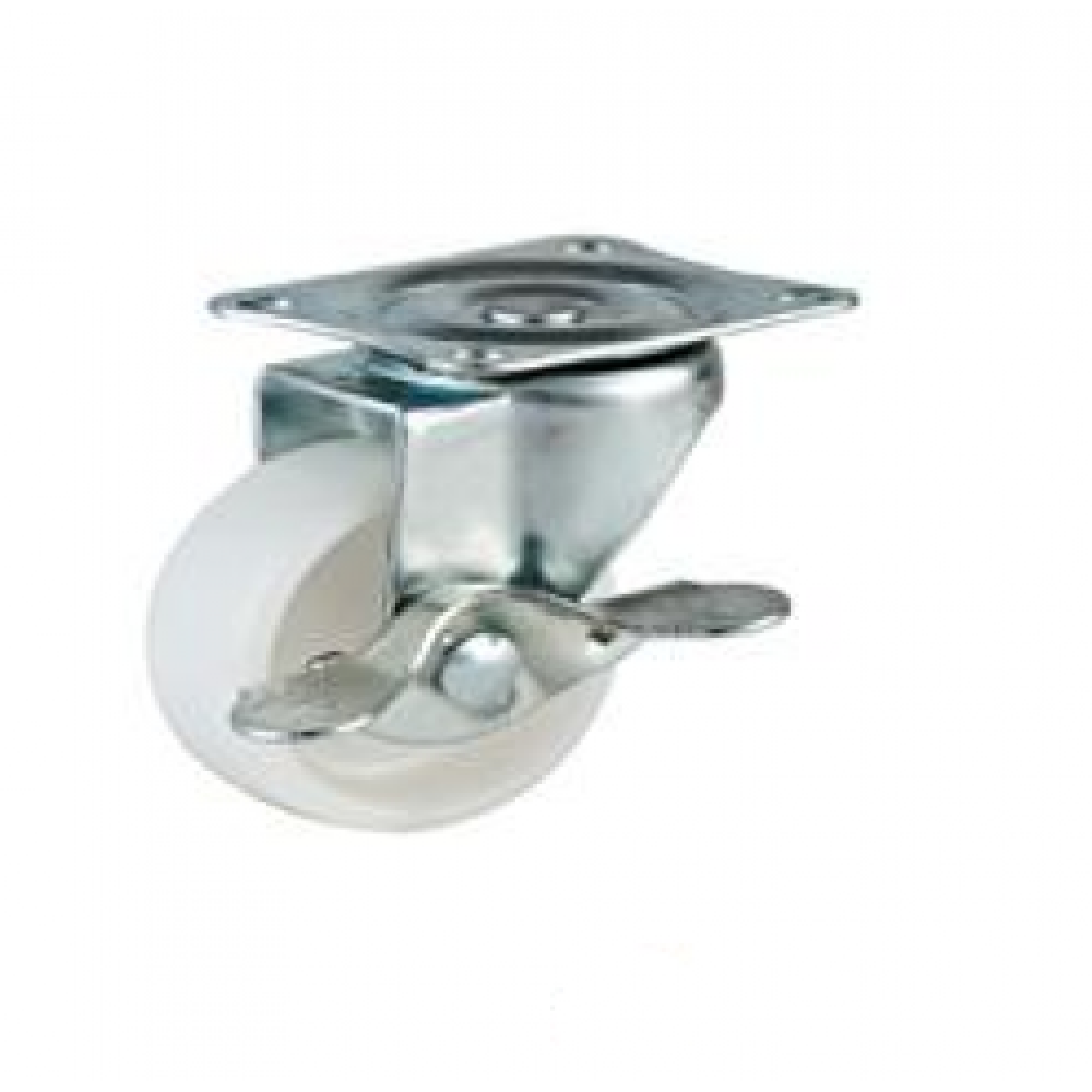 REDUCED!!! - 75mm Swivel Top Plate Nylon Castor (Braked) - Max. 65Kg