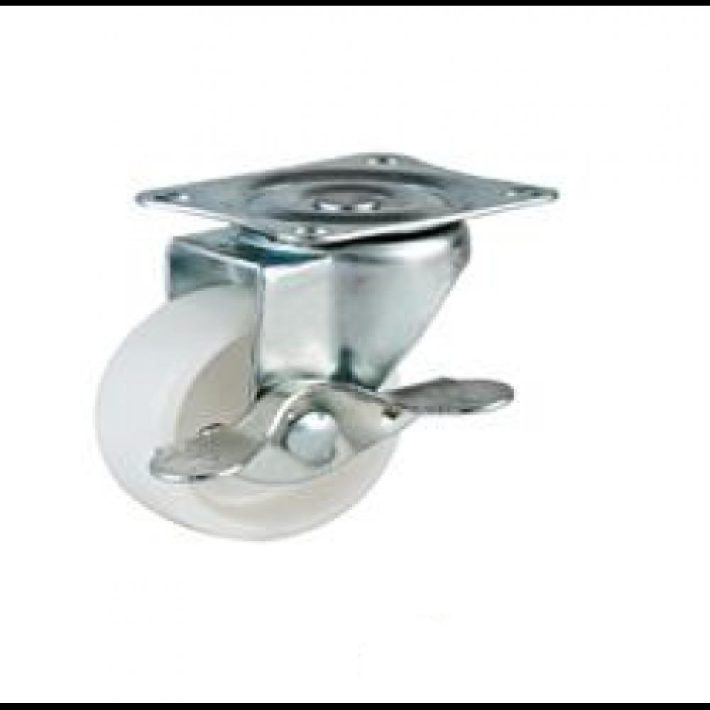 REDUCED!!! - 50mm Swivel Top Plate Nylon Castors (Braked) - Max. 30Kg