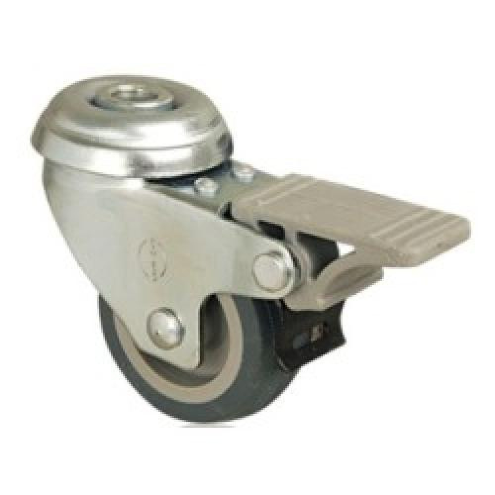 75mm NON MARKING Swivel (Braked) Bolt Hole Castor - Max. 50Kg