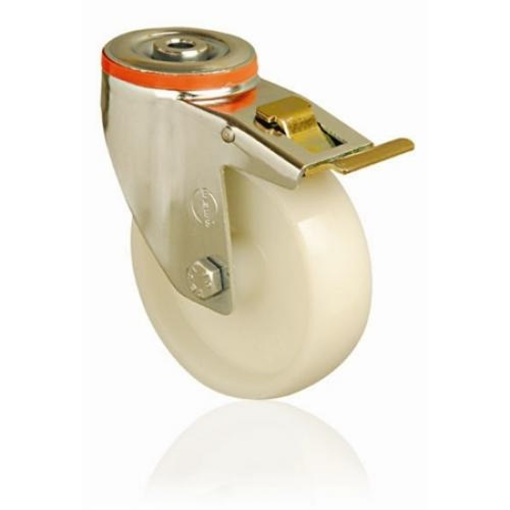150mm Swivel Bolt Hole (Braked) Nylon Castor - Max. 180Kg