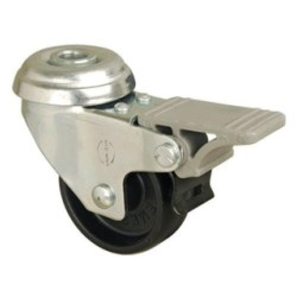 50mm Bolt Hole Swivel (Braked) Polypropylene Castor - Max. 35Kg