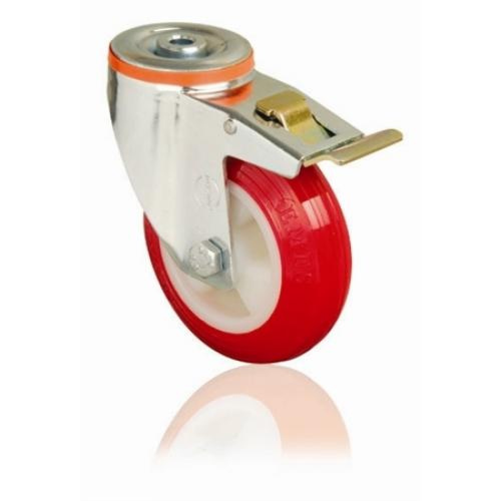 150mm Swivel Bolt Hole (Braked) Polyurethane Castor - Max. 180Kg