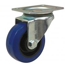 100mm Blue Elastic Swivel Castor, Top Plate with Roller Bearing Wheel - Max. 140Kg