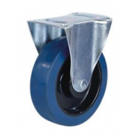 125mm Blue Elastic Fixed Castor with Roller Bearing Wheel - Max. 160Kg