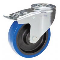 100mm Blue Elastic Swivel Castor, Single Bolt Fixing with Roller Bearing Wheel (Braked) - Max. 140Kg