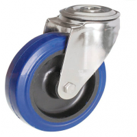 100mm Blue Elastic Swivel Castor, Single Bolt Fixing with Roller Bearing Wheel - Max. 140Kg