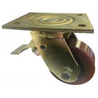 100mm Swivel Top Plate Brown Polyurethane Castor (Braked) - Max. 300Kg