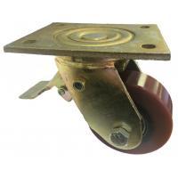100mm Swivel Top Plate Brown Polyurethane Castor (Braked) - Max. 300Kg