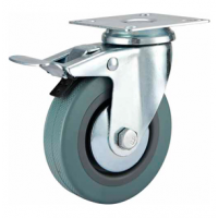 125mm Castor - Grey Non-Marking Rubber - Swivel Top Plate (Braked) - Max 105Kg