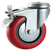 125mm Polyurethane Casters - Swivel - Bolt Hole (Braked) - Max. 140Kg