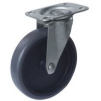 REDUCED!!! - 125mm Swivel Top Plate Grey TPR Rubber Castor - Max. 65Kg