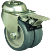 50mm Twin Wheel Castor (Braked) - NON MARKING - Swivel Bolt Hole - Max. 55Kg