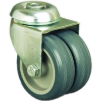50mm Twin Wheel Castor - NON MARKING - Swivel Bolt Hole - Max. 55Kg